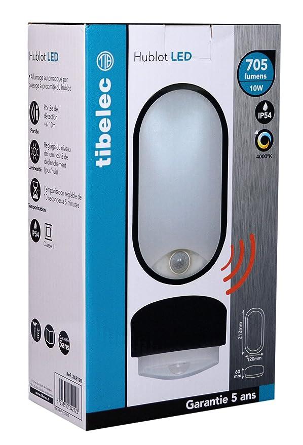 Tibelec 342120 - ojo de buey LED ovalado con detector de movimiento, plástico, 10 W, Negro, 60 x 12 x 212 mm: Amazon.es: Iluminación