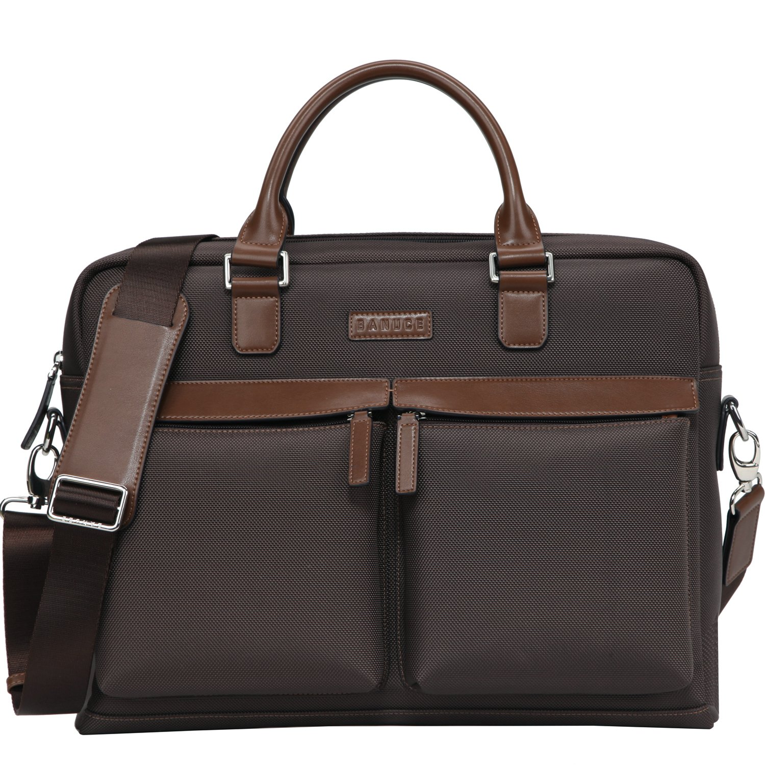 Banuce Men's Waterproof Nylon Faux Leather Briefcase Business 2 way Tote Shoulder Messenger 14 inch Laptop Bag Brown Ront LDXCXBM134-DBN