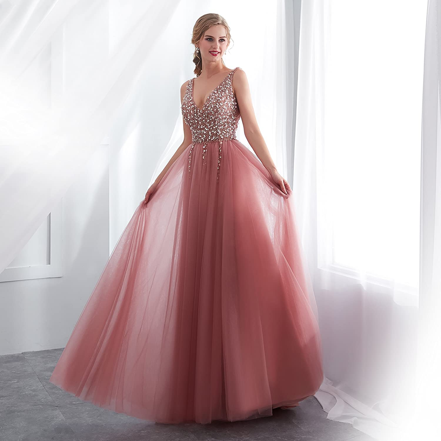 fba6dfbd0c34 JINGDRESS Women Sparkly Pale Mauve Tulle Bridesmaid Dresses Sequins Beads  Long Bling Maxi Evening Dressing Gowns at Amazon Women's Clothing store:
