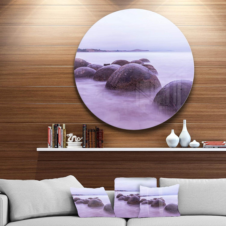 Designart Moeraki Boulders New Zealand Disc of 38 38x38-Disc of 38 inch Blue Seashore Photo Circle Wall Art