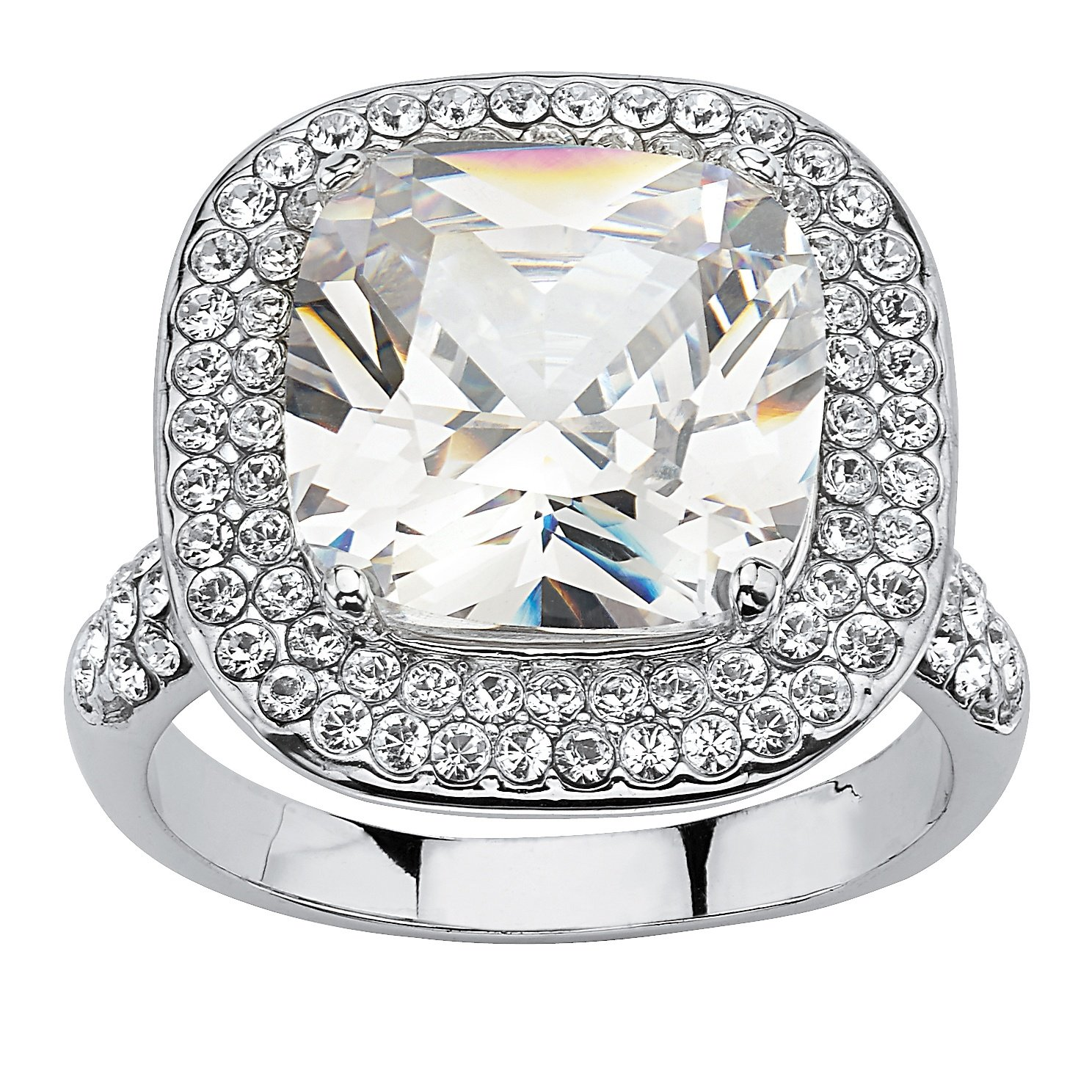 Palm Beach Jewelry Platinum-Plated Cushion Cut Cubic Zirconia Crystal Accent Halo Engagement Anniversary Ring Size 9