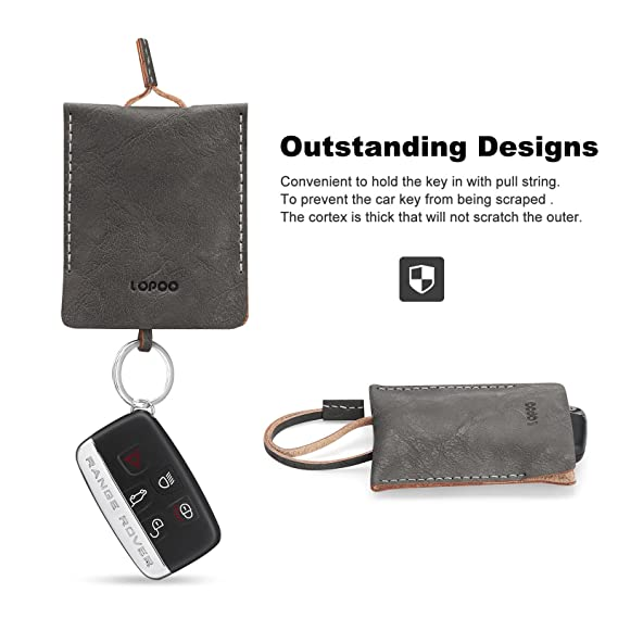 LOPOO Cartera (9 X 7.5 cm) Suave Piel Genuina Caso Key Wallet Bolsa de Llaves Mini Delgada Portatil Cartera Mini Wallet (Grey): Amazon.es: Electrónica