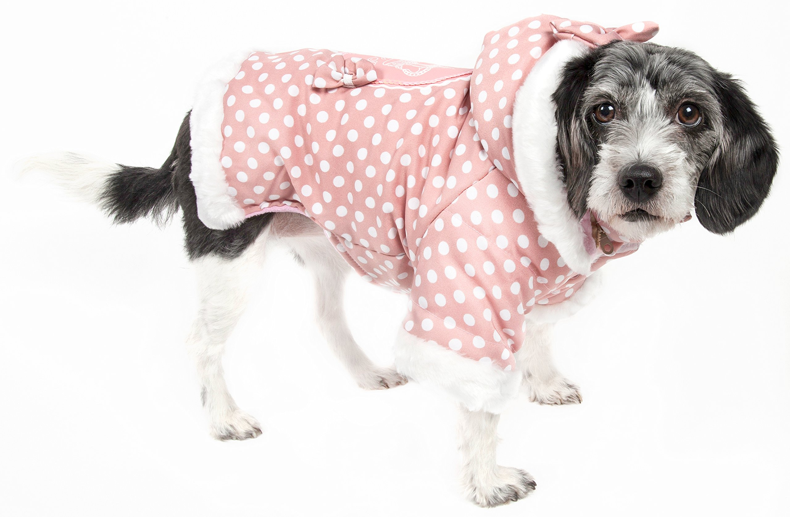 Pet Life Couture-Bow' Polka Dot Designer Fashion Pet Dog Hooded Sweater Hoodie, Small, Pink Polka