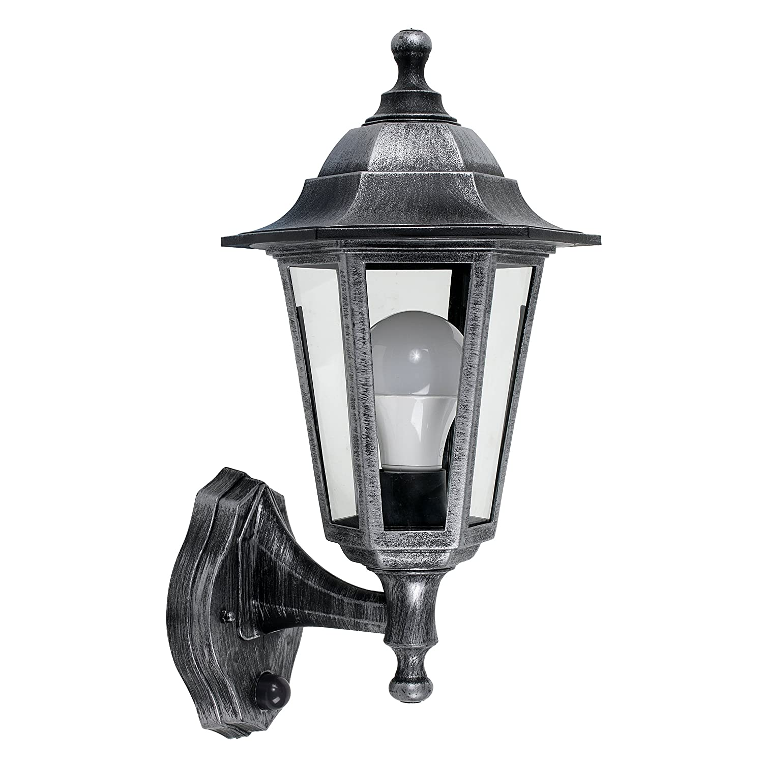 Vintage Victorian Style Brushed Silver And Black Outdoor Garden Security IP44 Rated Wall Light Lantern - Featuring An Integrated Dusk To Dawn Sensor MiniSun