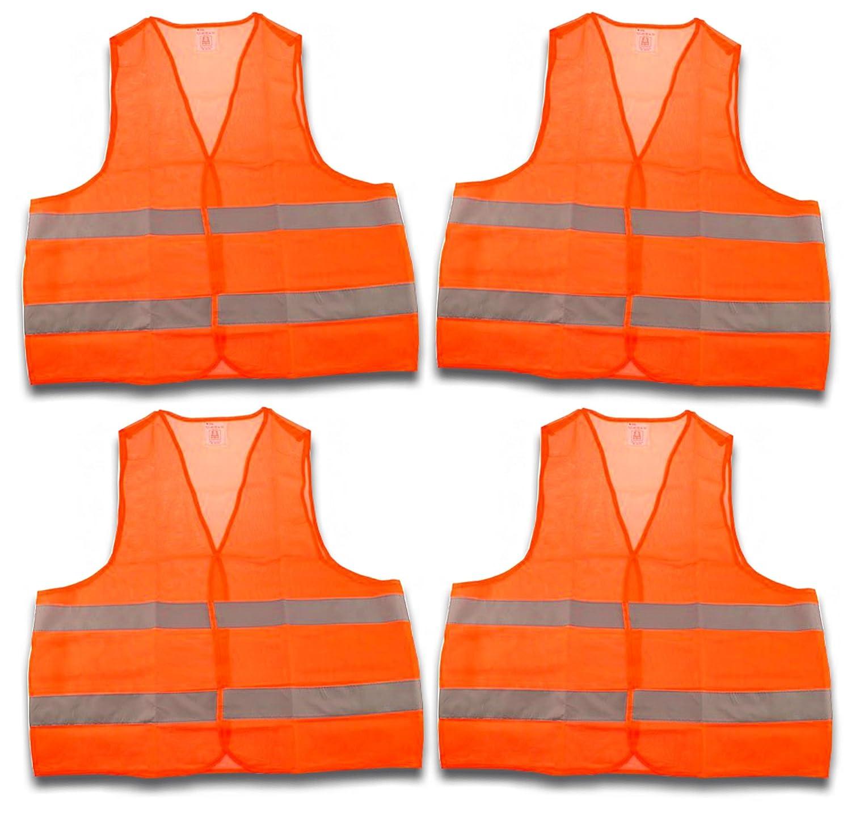 4 pezzi gilet ad alta visibilità , Giubbotto di sicurezza, gilet Panne en 471 Arancione con strisce catarifrangenti e chiusura in velcro misura universale