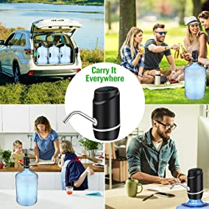 5 Gallon Water Bottle Dispenser,Electric Drinking Water Pump Portable Water Dispenser Universal USB Charging Water Bottle Pump For 2-5 Gallon With 2 Silicone (Color: Black, Tamaño: Small Water Bottle Dispenser)