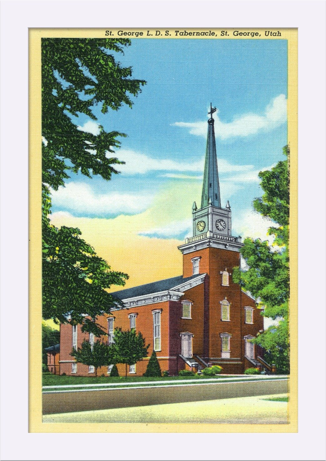 Amazon.com: St. George, Utah - Exterior View of the St. George L.D.S. Tabernacle (11 1/4x18 Giclee Art Print, Gallery Framed, White Wood): Posters & Prints