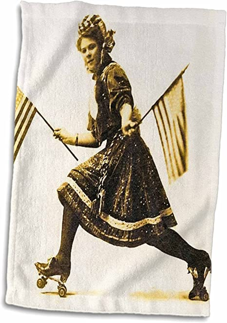 Amazon Com 3d Rose Patriotic American Roller Skating Suffragette Vintage Early 1900s Hand Towel 15 X 22 Home Kitchen