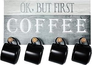 TJ.MOREE OK, But First Coffee Wall Mount Sign Coffee Bar Decor, Coffee Station Mug Display Coffee Station Centerpiece Decor (17 x 8.7 in.)