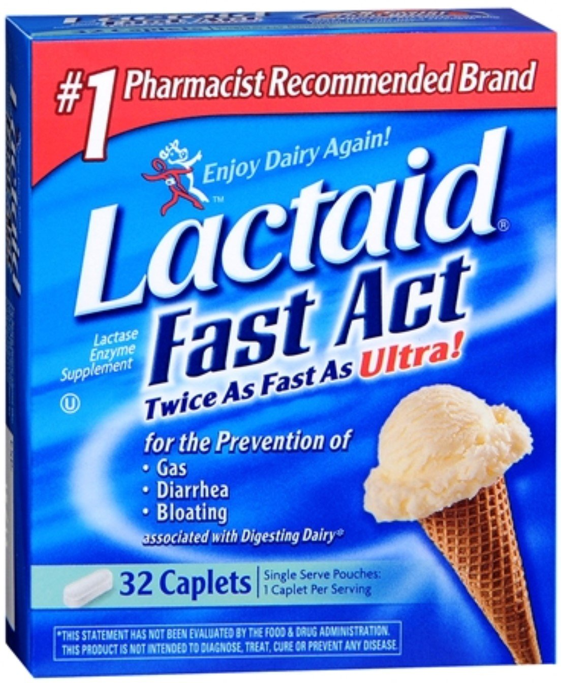 LACTAID Fast Act Caplets 32 ea (12 Pack) by Pharmapacks