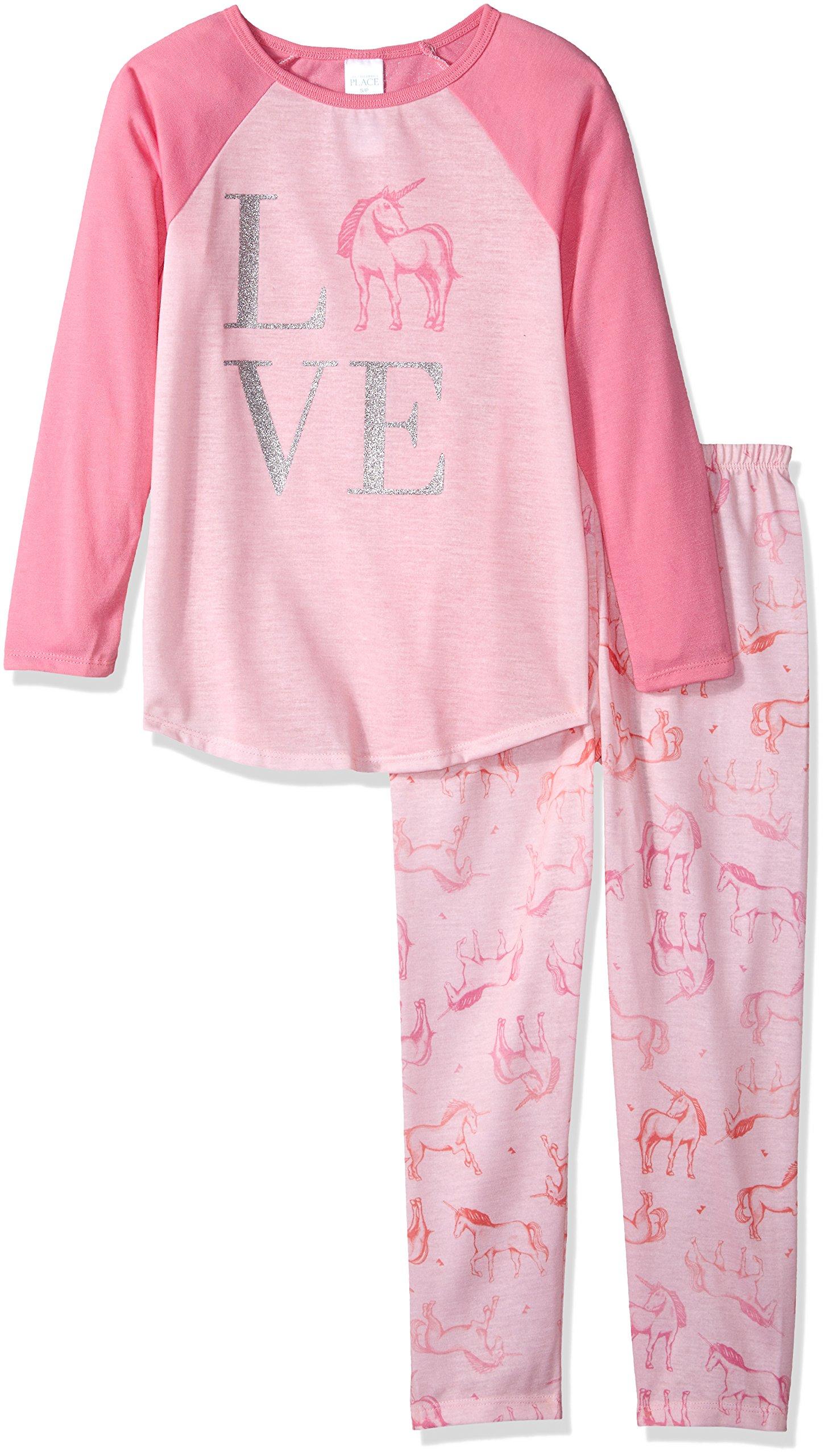 The Children's Place Big Girls' Unicorn Love 2 Piece Sleepwear Set, Whisperpnk 91399, XL (14)