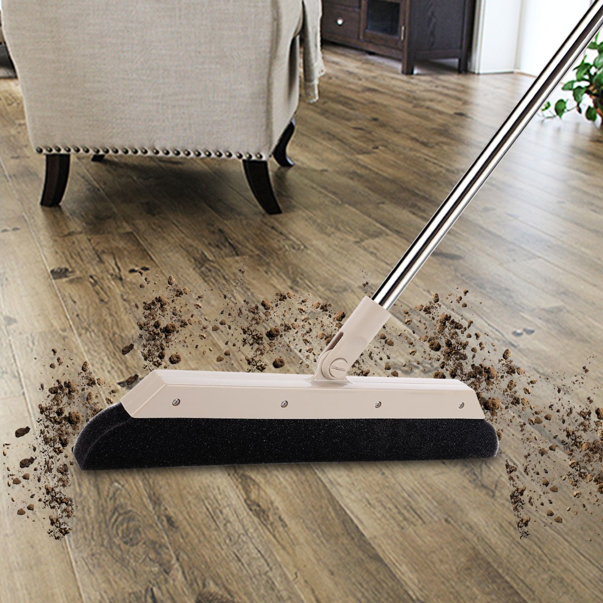MEIBEI Sponge Broom Dust Cleaner, 37.4'' Adjustable Long Handle with 13.8'' Wide Blade, Perfect for Wood Tile Marble Carpet & Glass by MEIBEI (Image #3)