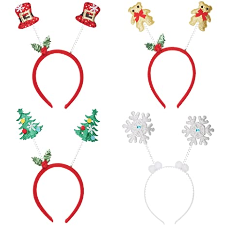 1277ae5e8b58 REDSTAR 4 Pack of Christmas Head Boppers Assorted Xmas Novelty Hat Office Fancy  Dress Parties  Amazon.co.uk  Kitchen   Home