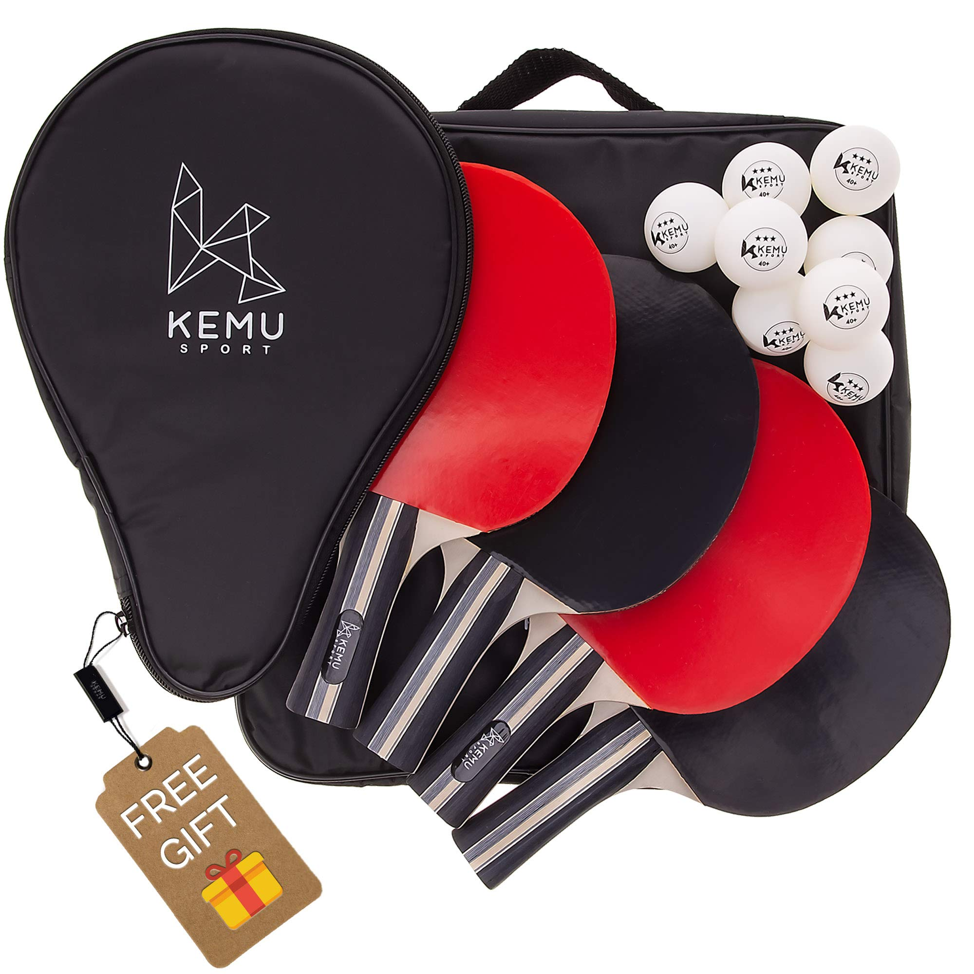 Ping Pong Paddle Set of 4 - Includes Case & 1 FREE Racket Cover - Professional Grade Table Tennis Rackets - 8x 3-Star ITTF Standard Balls - Superior Bat Control, Comfortable Paddles, Unbeatable Spin by Kemu Sport