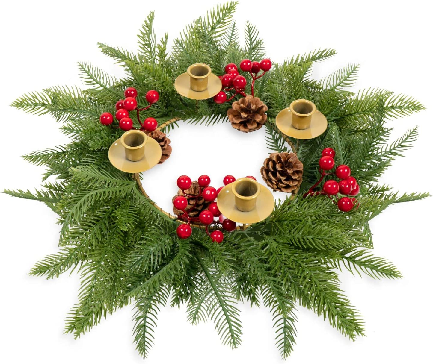 Rocinha Advent Wreath Candle Holder with Red Berry, Evergreen Advent Ring Artificial Christmas Wreath for Advent Centerpiece - Best Advent Decoration for Home (16-inch in Outer Diameter)
