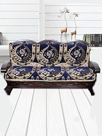 Yellow Weavestm 2 Piece 3 Seater Blue Cotton Sofa & Chair Cover Set