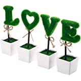 Set of 4 Artificial LOVE Topiary Set, Faux Letter Hedge Sculptures with Square Ceramic Pots