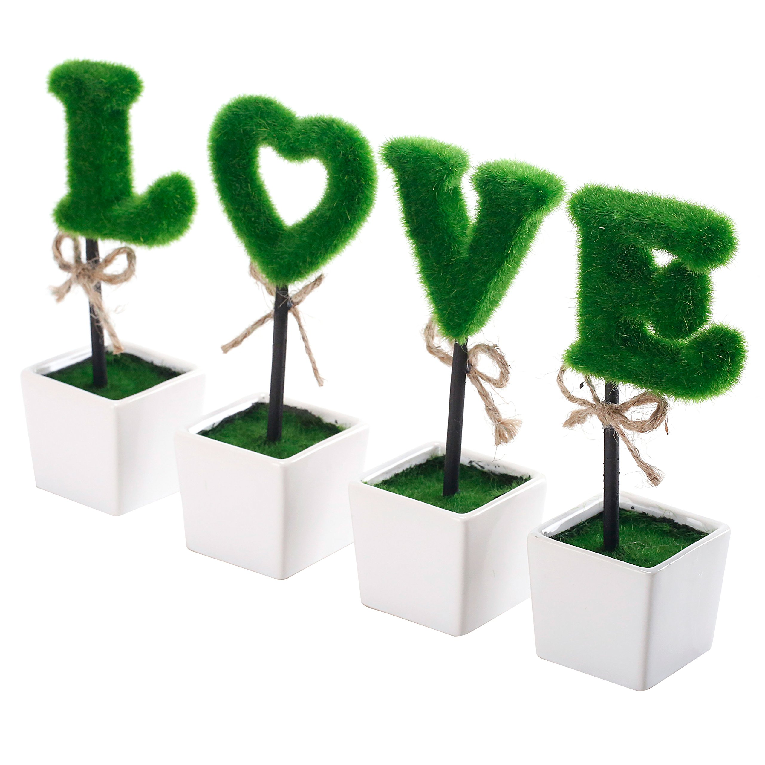 Set of 4 Artificial LOVE Topiary Set, Faux Letter Hedge Sculptures with Square Ceramic Pots by MyGift