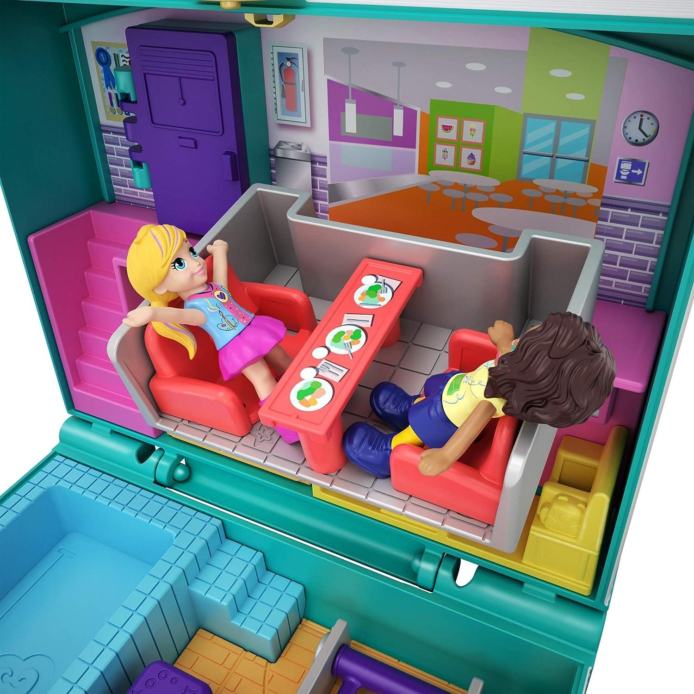 jouet enfant /édition 2019 accessoires autocollants et surprises cach/ées Polly Pocket Coffret Univers Aventures /à l/école 2 mini-figurines GFM48
