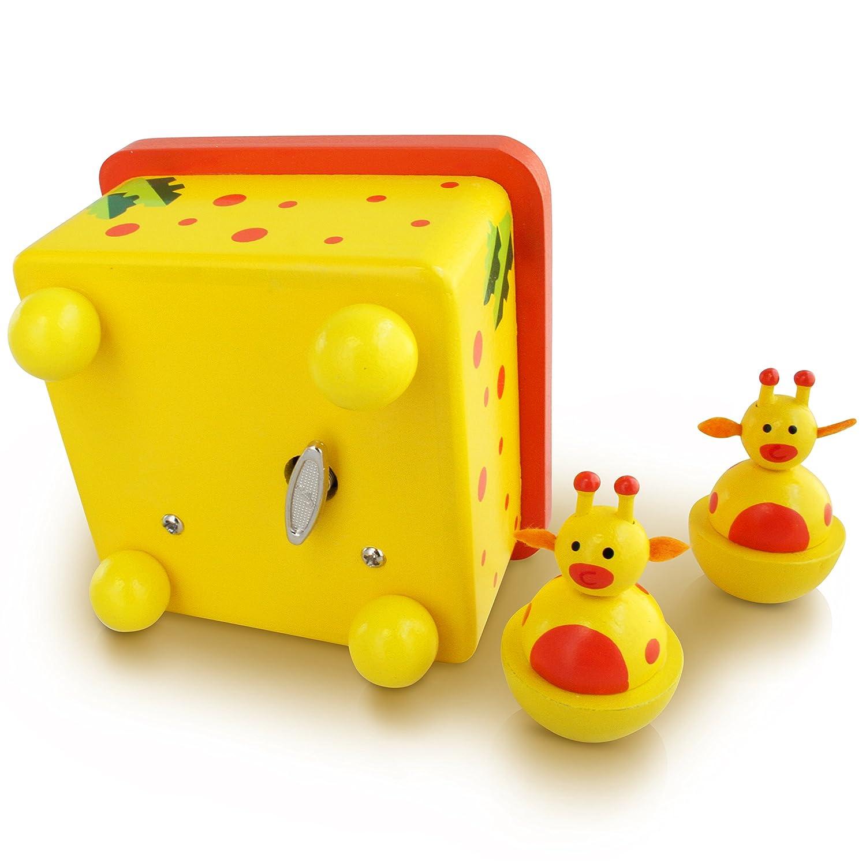 Yellow Giraffe Wooden Music Box Optional Personalisation