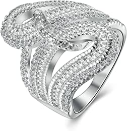 Epinki Jewelry 925 Sterling Silver Women Silver Daisy Flower Anniversary Bridal Wedding Band Ring TdcvtYe
