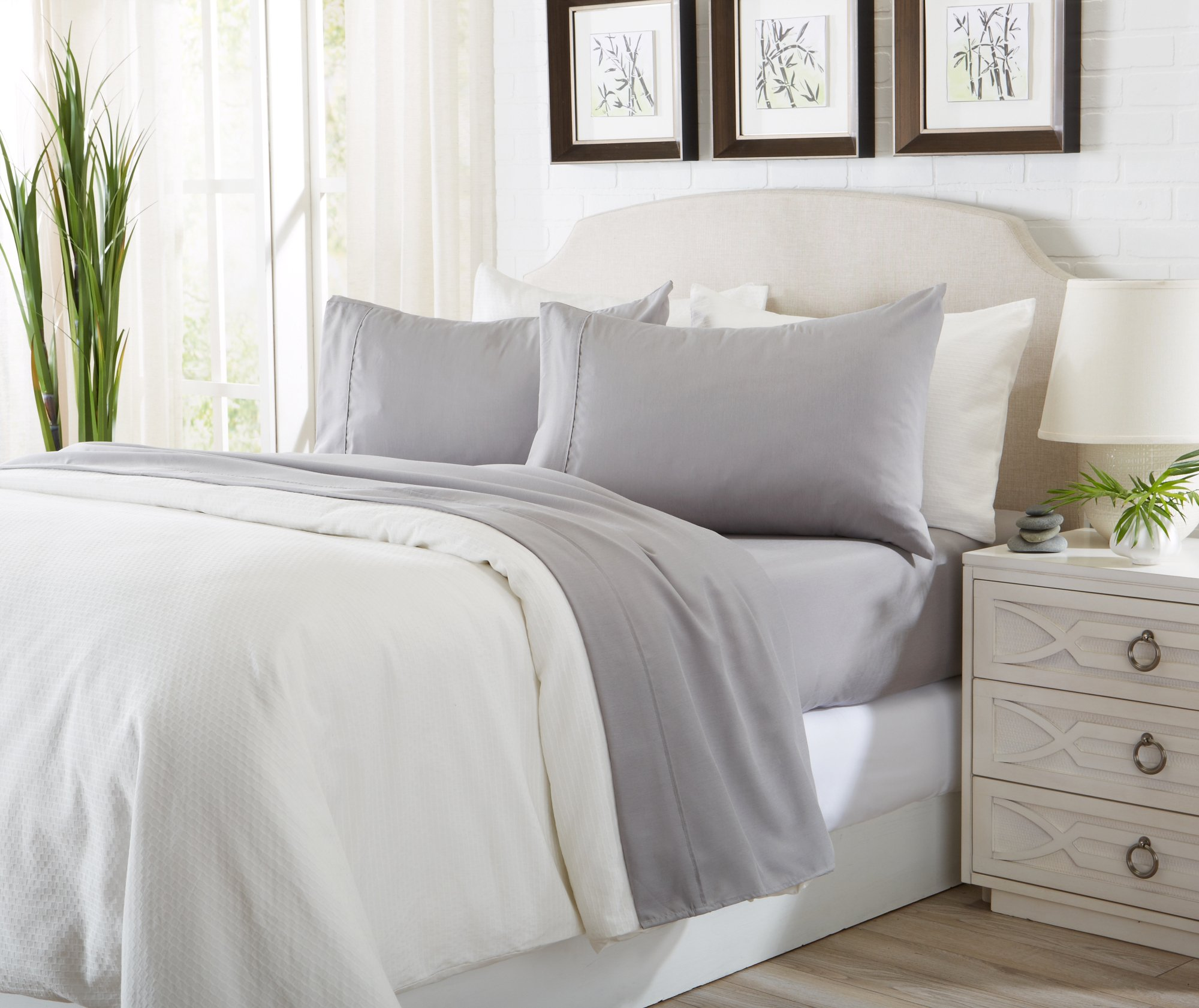 Great Bay Home Luxury Ultra Soft Bamboo Sheet Set. Spa-Quality, Comfortable, All-Season Bed Sheets. By Brand. (King, Paloma Grey) by Great Bay Home (Image #5)