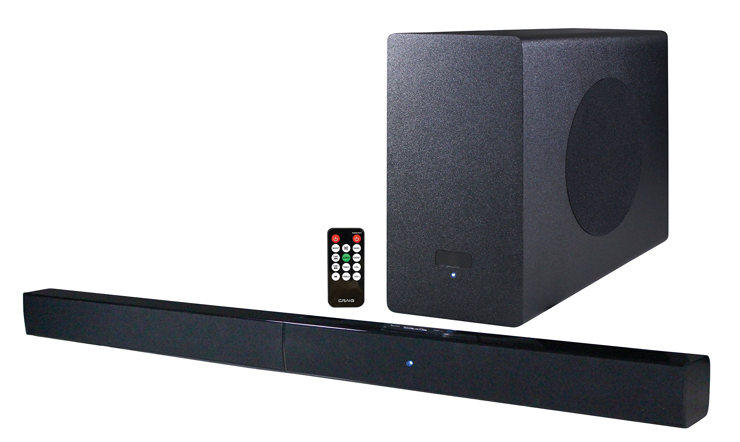 Craig Electronics CHT978 2.1 Channel Wireless Home Theater System with 37'' Soundbar and Bluetooth Technology
