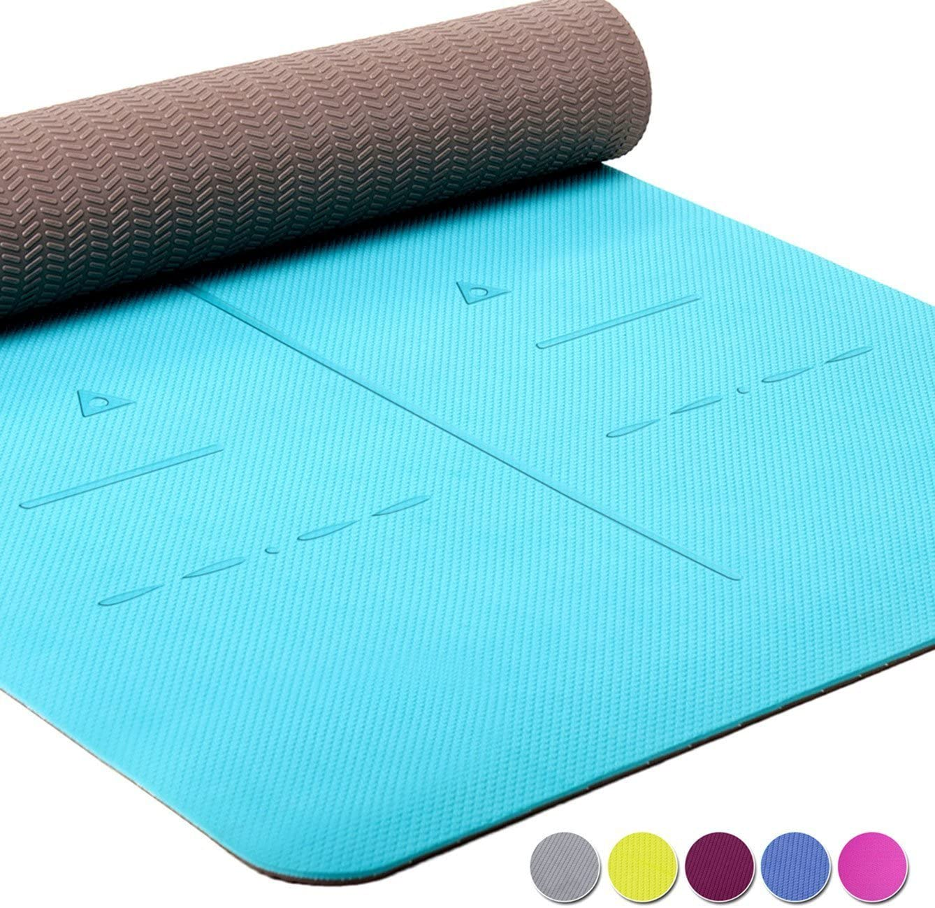 Heathyoga Eco Friendly Non Slip Yoga Mat, Body Alignment System, SGS Certified TPE Material – Textured Non Slip Surface and Optimal Cushioning,72 x 26 Thickness 1 4