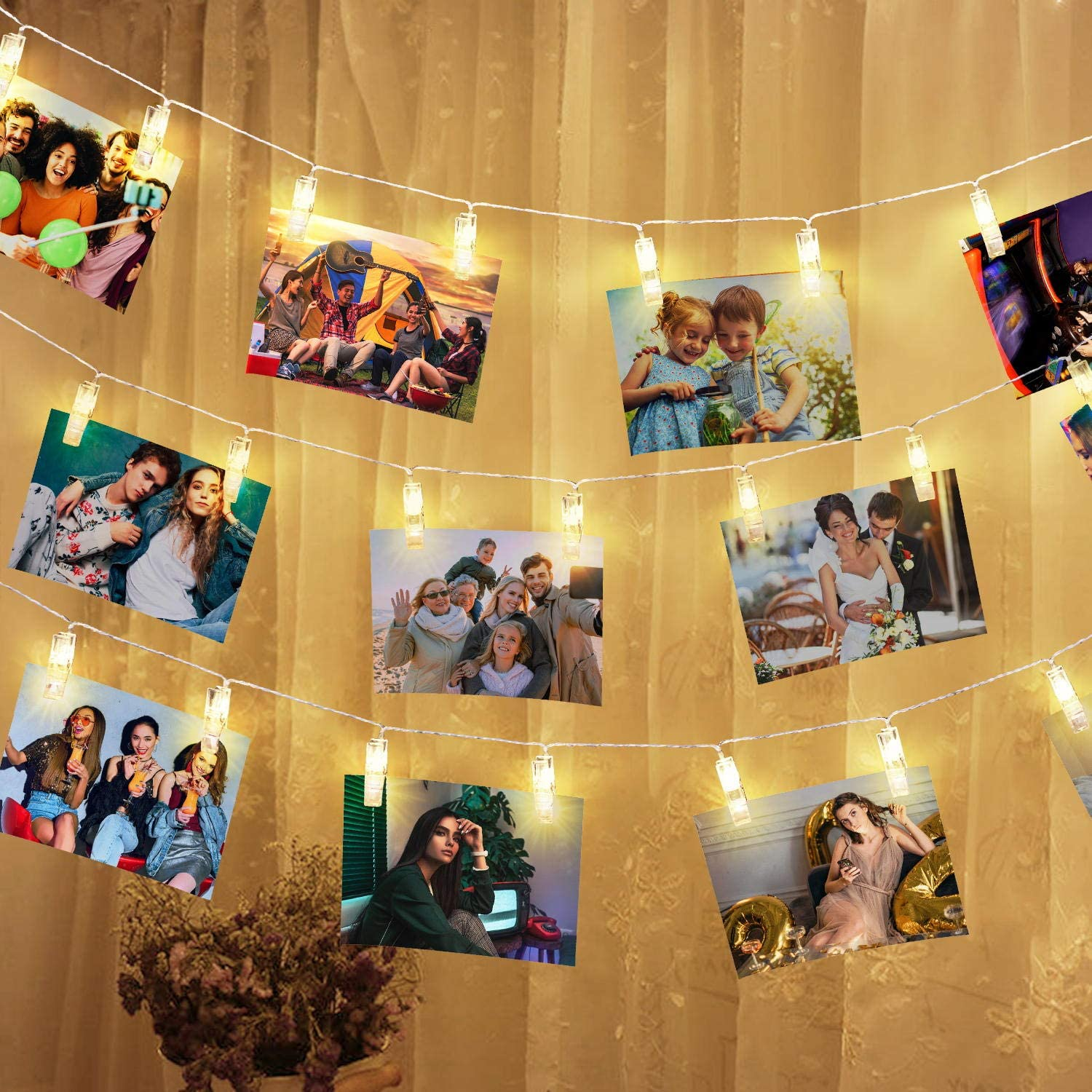 LED Photo Clips String Lights 20ft 40 LED Photo Clips Battery Powered Starry Fairy Lights Twinkle Lights for Hanging Pictures, Cards and Artwork Wedding Party Christmas Halloween Thanksgiving Decor