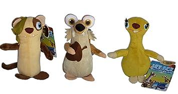 Edad de Hielo Pack 3x Peluches Scrat, Buck y Sid 27cm Peluche Pelicula El Gran
