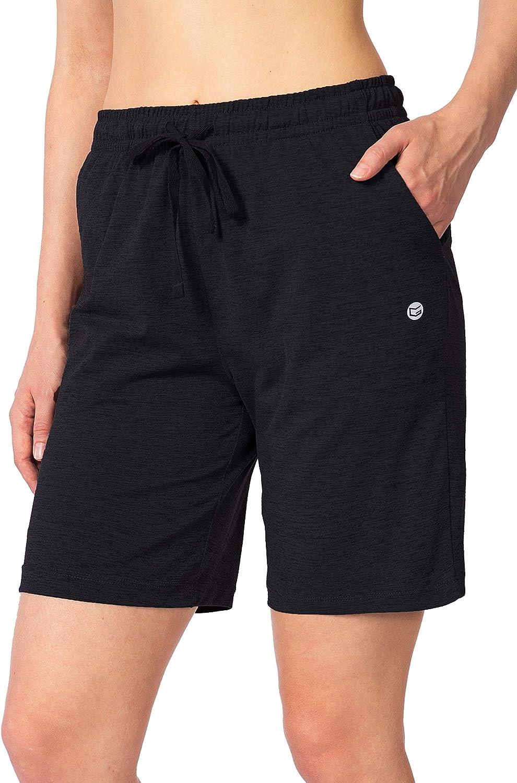 G Gradual Womens Bermuda Shorts Jersey Shorts with Deep Pockets 7 Long Shorts for Women Lounge Walking Athletic