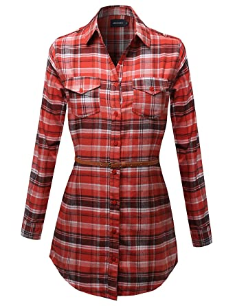 dc00e4a7311 Awesome21 Super Cute Flannel Plaid Checkered Shirt Dress with Belt Orange  Size S
