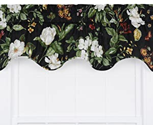 Ellis Curtain Garden Images Large Scale Floral Print Lined Duchess Filler Valance, 50 by 15-Inch, Black