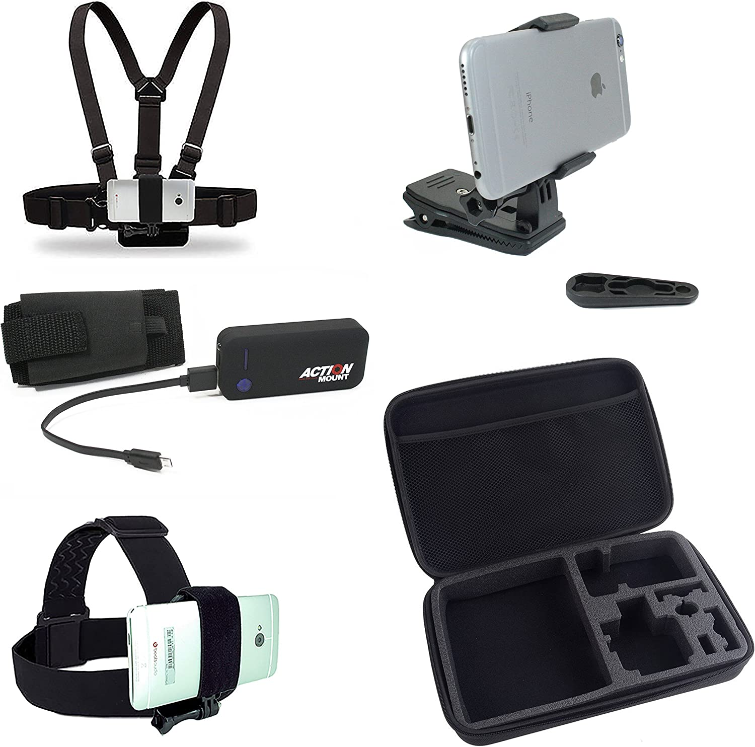 Action Mount Wearable Battery Charger | 5200mAh External Power Pack. Kit Includes Chest Mount, Head Mount, Backpack Clip, Locking Phone Clamp Adapter. (Wearable Mount Kit & Battery) 81eIOIKhYgL
