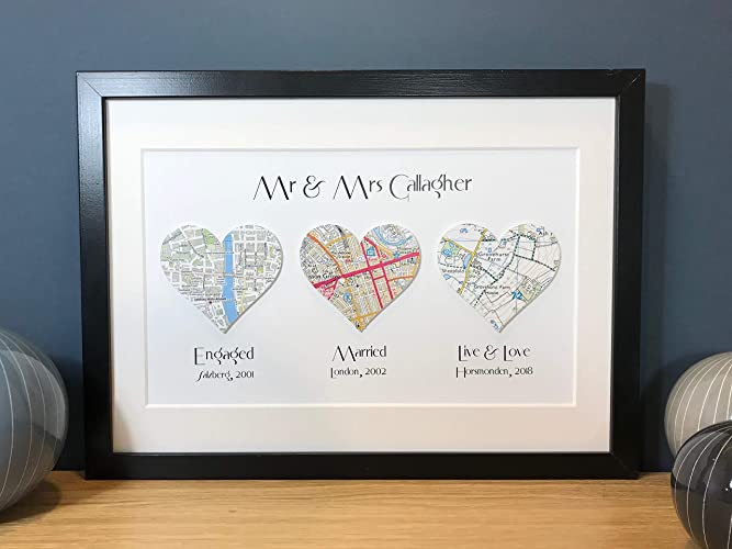 Personalised Anniversary or Wedding Gift ~ Map Location Gift