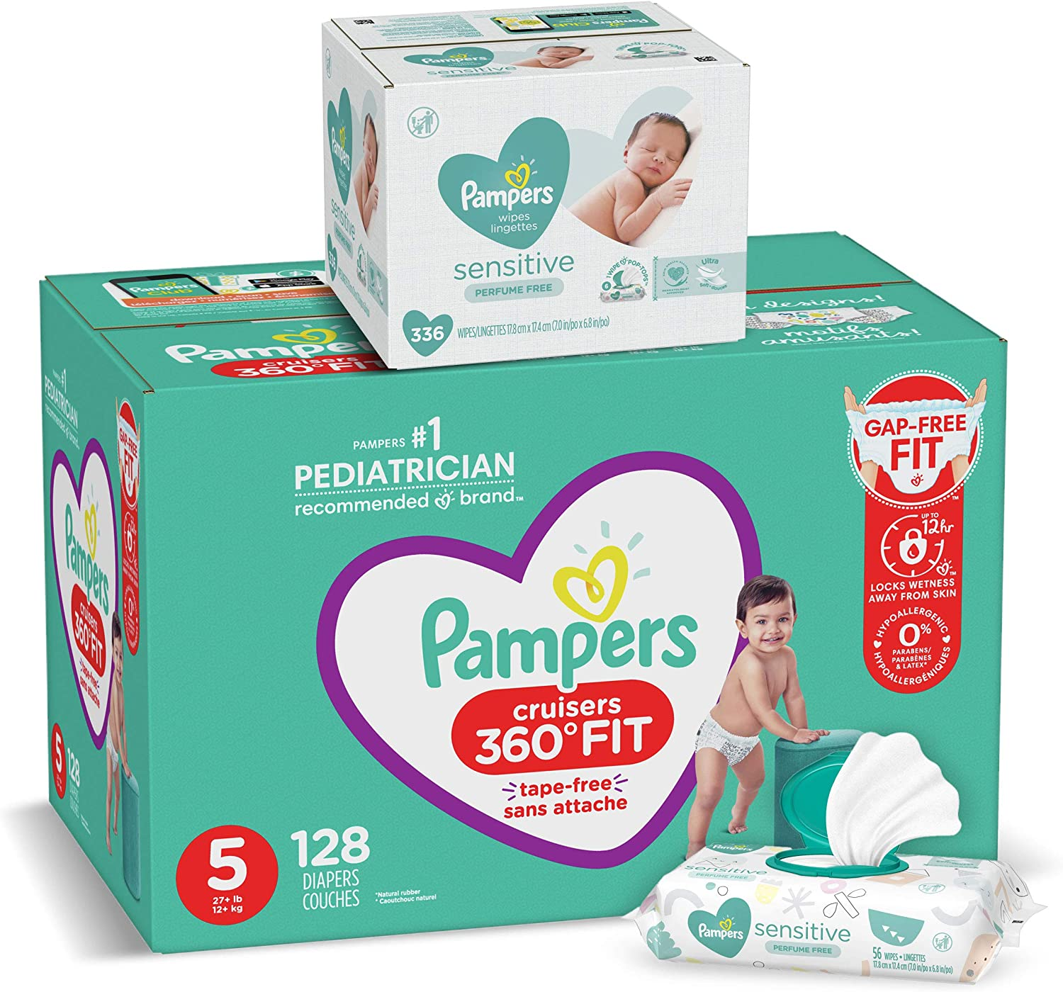 Packaging May Vary Super Pack Cruisers 360˚ Fit Disposable Baby Diapers with Stretchy Waistband 48 Count Pampers Diapers Size 6