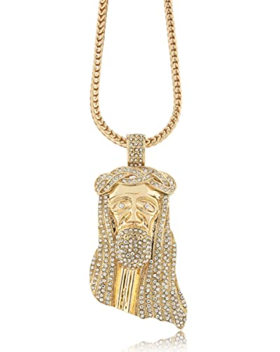 Amazon iced out gold jesus piece largerw 30 36 iced out gold jesus piece largerw 30 quot 36 quot mozeypictures Image collections