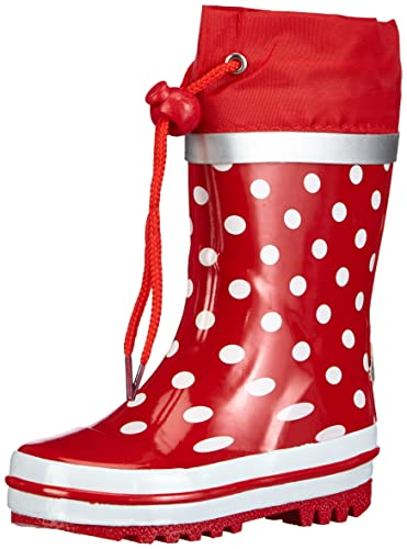 Playshoes Dots Collection Rubber Rain Boots (7 US Toddler, Red)