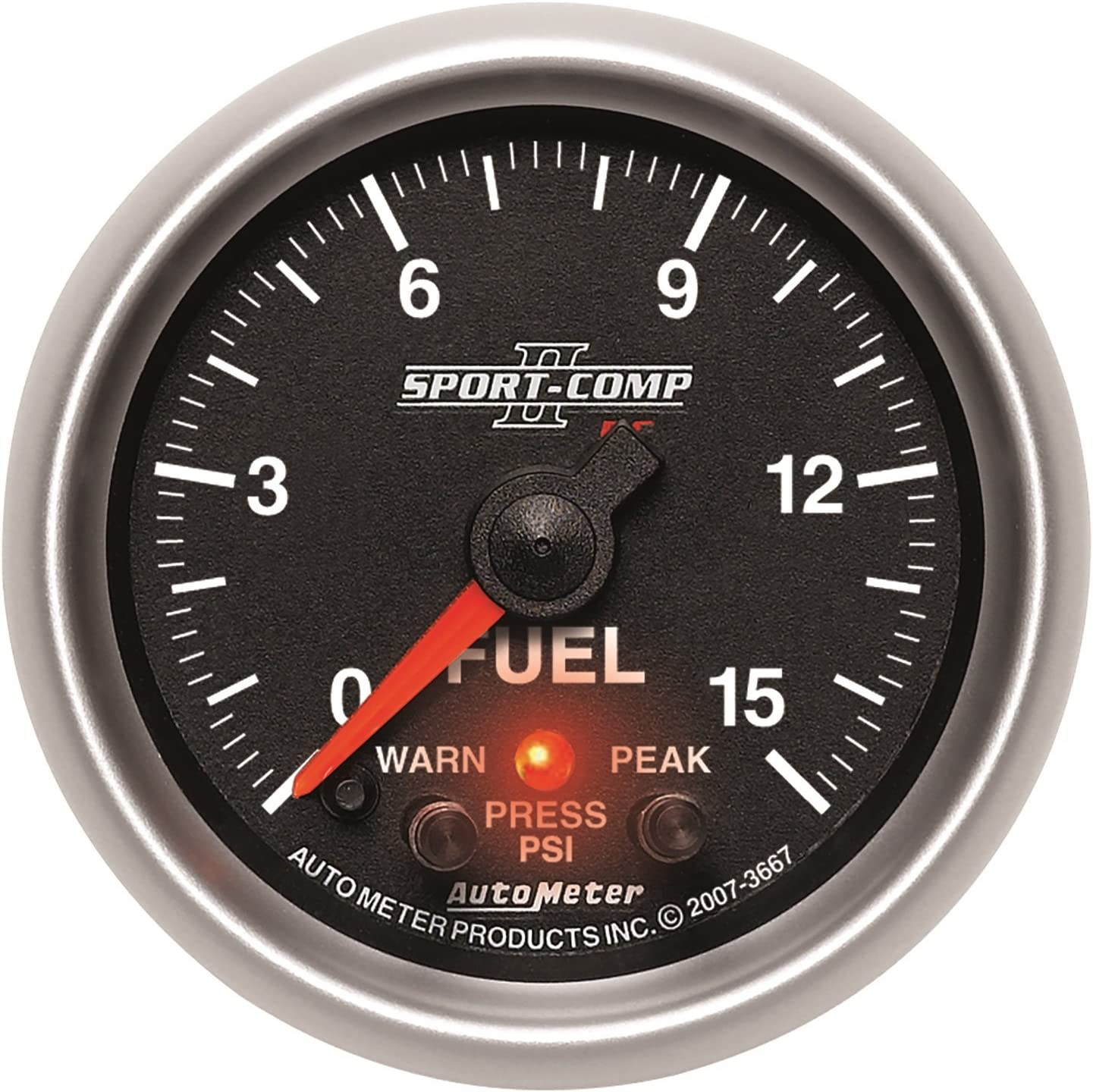 Auto Meter 3667 Sport-Comp II 2-1//16 0-15 PSI Full Sweep Electric Fuel Pressure Peak and Warn Gauge with Electronic Control