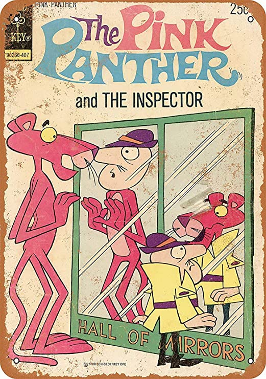 MariaP Vintage 8 x 12 Metal Sign - Tin74 The Pink Panther Comic - Vintage Look Reproduction Office Wall Art Wall Decor Art