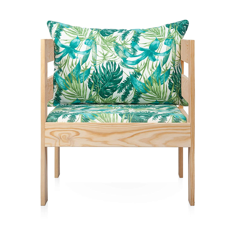 SUENOSZZZ - Sofa Jardin de Madera de Pino Color Natural, MEDITERRANEO Mod. sillón, Sillon cojín Tela Estampada Elga. Muebles Jardin Exterior. Silla ...