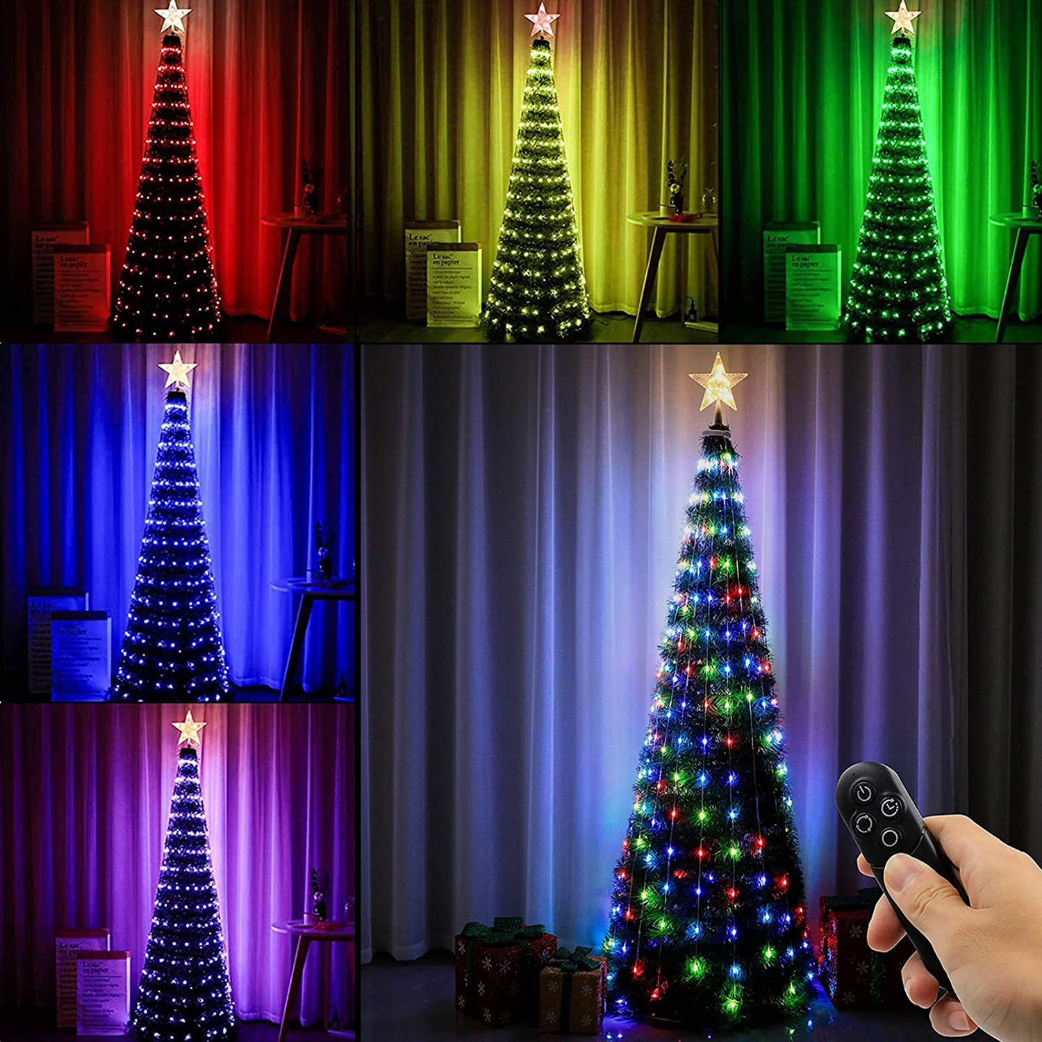 Joomer Christmas Tree with Lights, 4ft Artificial Collapsible Christmas Tree with Star Tree Topper and 186 LED Color Changing Lights, 18 Lighting Modes, Remote Control & Timer Function, Easy Assembly