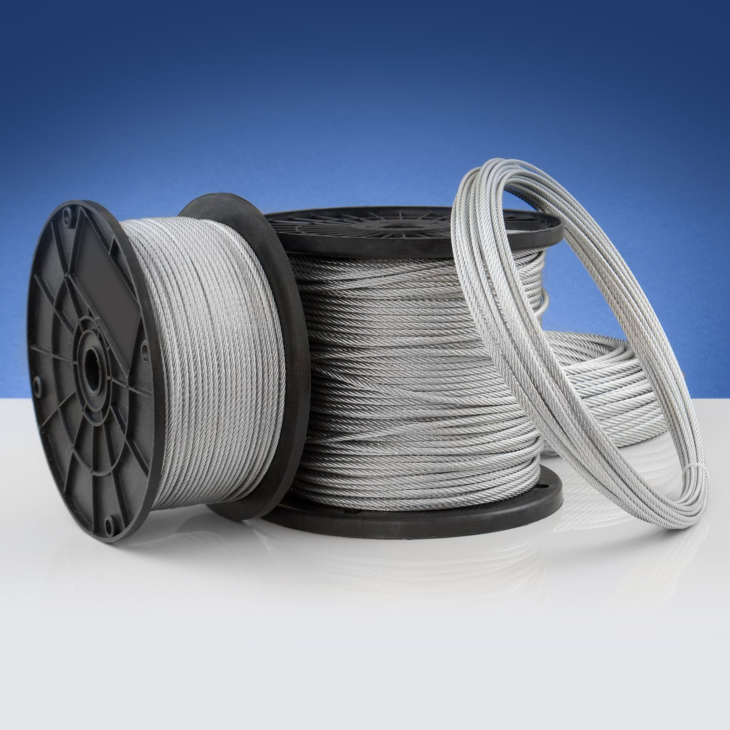 SET 5m steel wire rope galvanised 3mm strand: 6x7 many sizes available 4 clips 2 thimbles
