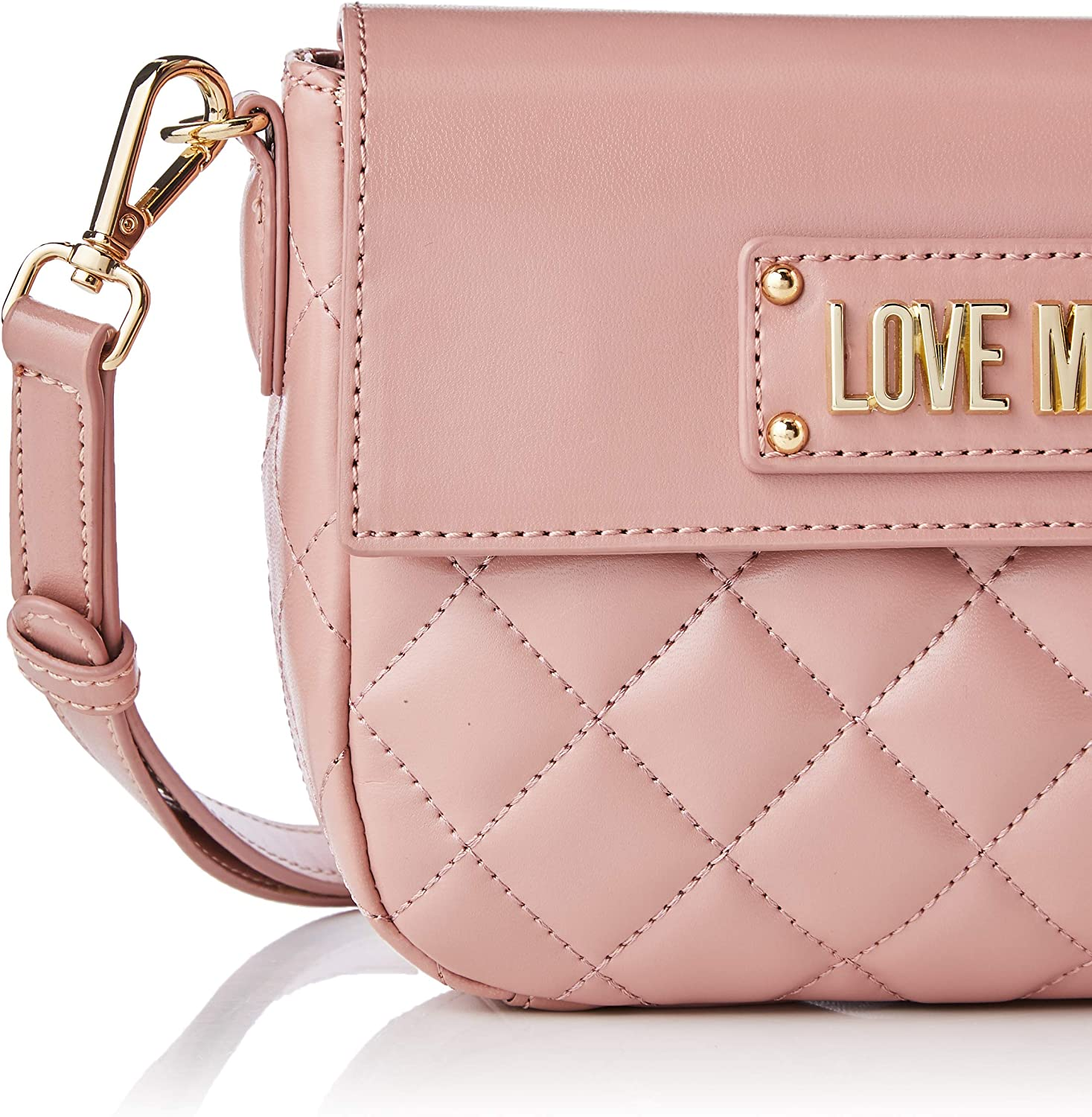 Love Moschino Borsa Quilted Nappa PU, Sac Messager Femme, Noir, 16x23x6 Centimeters (W x H x L) Rose (Cipria)