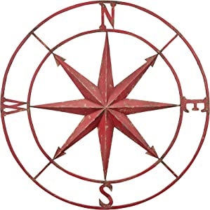 "Creative Co-op Decorative Round Metal Compass Wall Décor, 30"", Red"