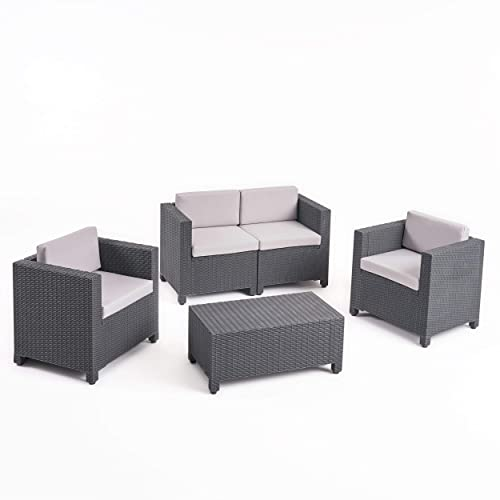 Christopher Knight Home 309024 Waverly All Weather Faux Wicker 4 Seater Chat Set with Cushions, Dark Grey, Grey