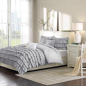 Intelligent Design Waterfall Comforter Set Full/Queen Size - Grey, Ruffles – 5 Piece Bed Sets – Ultra Soft Microfiber Teen Bedding for Girls Bedroom