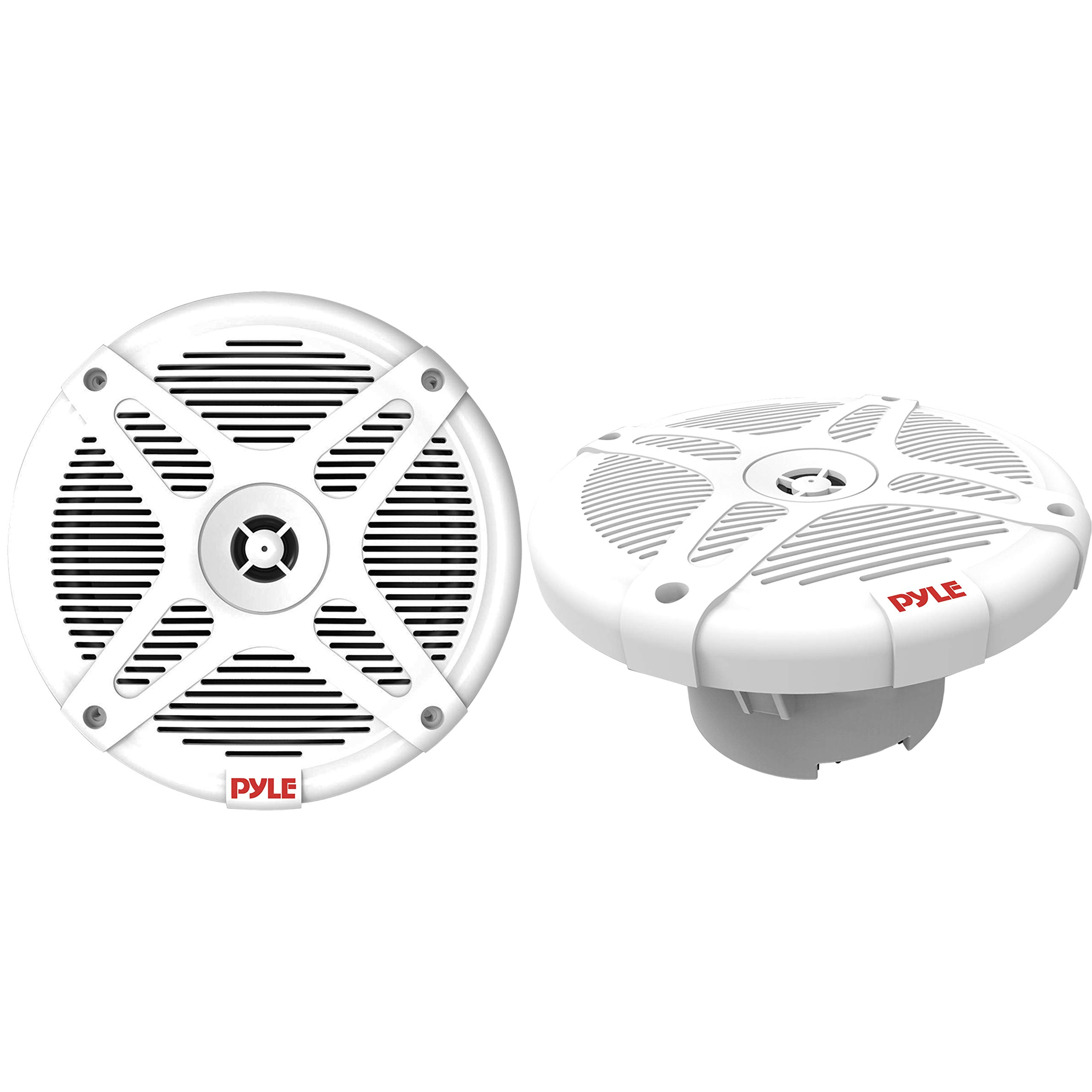6.5 inch Dual Marine Speakers - Waterproof and Bluetooth Compatible 2-Way Coaxial Range Amplified Audio Stereo Sound System with Wireless RF Streaming and 600 Watt Power - 1 Pair - PLMRF65MW (White)