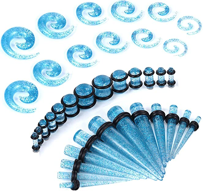 SUPTOP 36pcs Lot Ear Tapers Stretching Kit Surgical Stainless Steel Taper O Ring Ear Tunnels Ear Stretching Ear Gauges Tools Tapers and Plugs Set 14G-00G