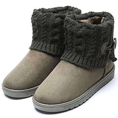 Adison Adison Women's Winter Boots, Flat Ankle Knitting Fur Lined Winter Warm Snow Shoes